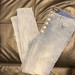 Express ankle legging high rise button fly jeans
